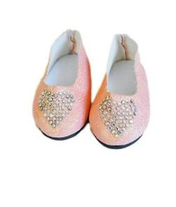 """Doll Clothes 18"""" Shoes Pink Heart Sparkle Fits American Girl"""