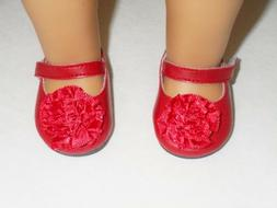 """Doll Clothes 18"""" Shoes Red Mary Jane Flower Arianna Fits Ame"""