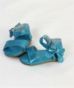 "Doll Clothes 18"" Shoes Teal Sandal Sparkle Fits American Gir"