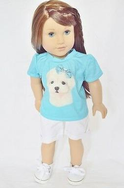 """Doll Clothes 18"""" Shorts White Shirt Teal Maltese Fits Americ"""