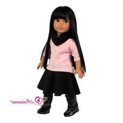 """Doll Clothes 18"""" Skirt Black Top Pink Scarf Arianna Fits Ame"""