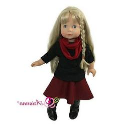 """Doll Clothes 18"""" Skirt Maroon Top Black Scarf Arianna Fits A"""