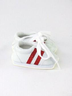 """Doll Clothes 18"""" Sneakers Shoes White Red Chevron Fits Ameri"""