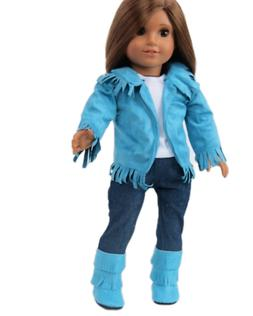 """Doll Clothes 18"""" Western Teal Suede Pants Outfit 4 Piece Fit"""