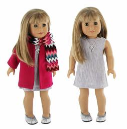 "Doll Clothes 5 Piece Winter Dress Outfit Coat Set Fits 18"" A"