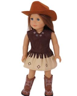 "Doll Clothes AG 18"" Cowgirl Skirt Top Boots Hat Brown Fits A"