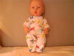 """DOLL CLOTHES BABY 14"""" -16"""" PAJAMA SET BOY OR GIRL AIRPLANE P"""