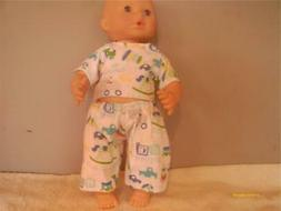 """DOLL CLOTHES BABY DOLL 10"""" 11"""" 12""""  2 PC PAJAMA SET BOY OR G"""