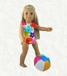 Doll Clothes Bathing Swim Suit Floral w/Beach Ball fit for 1