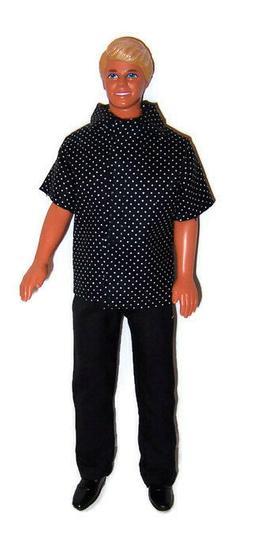 Doll Clothes-Black/White Polka Dot Short Sleeve Shirt & Blac