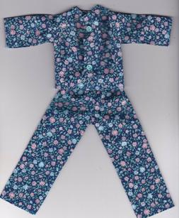 Doll Clothes-Blue and Pink Floral Print Pajamas that fit Bar