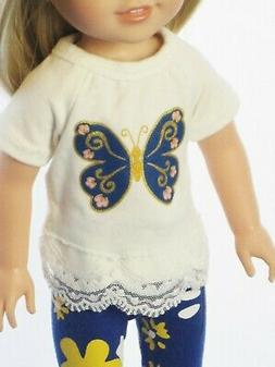 "Doll Clothes Blue Butterfly Pants Set For 14.5"" American Gir"