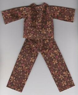 Doll Clothes-Brown Floral Print Pajamas that fit Barbie-Home