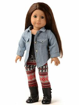 Doll Clothes Denim Jacket Outfits For 18 inch American Girl