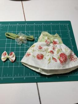 "Doll Clothes Dress & bow 8"" Ginny Muffie Alexanderkin Doll r"