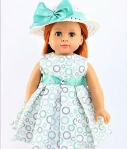 Doll Clothes Dress White Mint Green Gold Hat Bows Fits Ameri