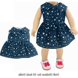 Doll Clothes Fashion Accessories Black Star Dress for 18 Inc