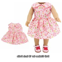 Doll Clothes Fashion Accessories Pink Flower Dress for 18 In