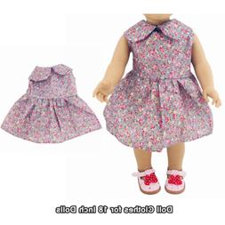 Doll Clothes Fashion Accessories Purple Flower Dress for 18