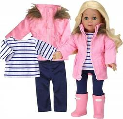 """Doll Clothes Fit 18"""" Parka Pink Leggings Tee Boots Fit Ameri"""