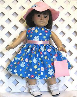 """Handmade Doll Clothes fits 18"""" American Girl Doll FLORAL TUR"""