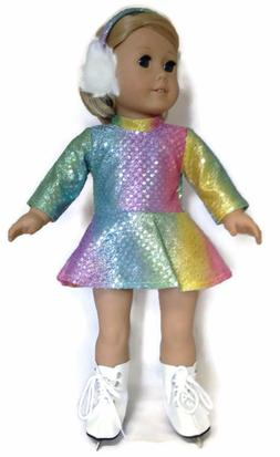 Doll Clothes fits 18 inch American Girl-Rainbow Sequin Skati