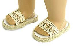 Doll Clothes fits American Girl Beige Crochet Summer Sandals