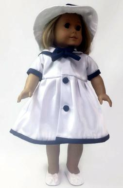 Doll Clothes fits American Girl-Sailor Dress and Matching Ha