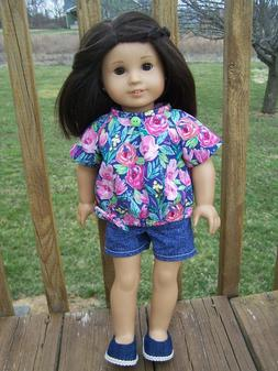 "Doll Clothes for 18"" American Girl Doll, Summer Top, Blue Pi"