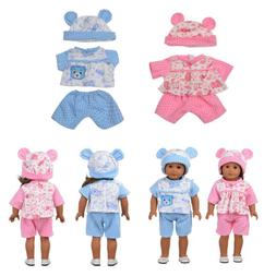Doll Clothes For 18 inch Baby Born US Girls Pink Blue Bear P
