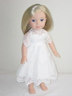 """White Lace  Dress Doll Clothes Fits 14.5"""" American Girl Well"""