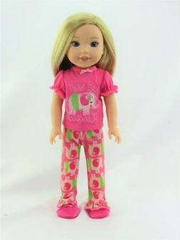 "Doll Clothes Pink Elephant Pajamas PJs For 14.5"" Wellie Wish"