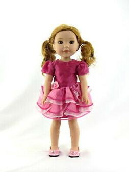 """Pink Ruffle Fancy Dress Doll Clothes For 14.5"""" Wellie Wisher"""