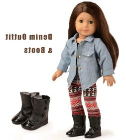 Doll Clothes Shoes Denim Jacket Outfits For 18 inch American