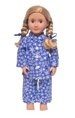 Doll Clothes Snowflake Pajamas Fits American Girl Doll & Oth