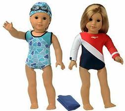 sweet dolly Doll Clothes Swimwear Gymnastics Set Team USA Fi