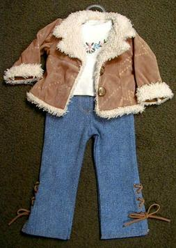 Doll Clothes TAN 'SUEDE' JACKET, EMBROIDERED SHIRT, LACE DEN