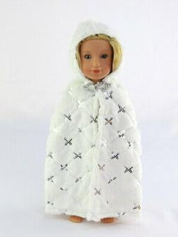 """Doll Clothes White Faux Fur Cape Coat For 14.5"""" American Gir"""