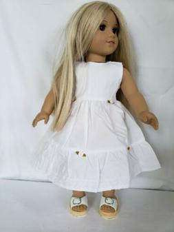 DOLL CLOTHES - WHITE SUMMER DRESS - FITS  AMERICAN GIRL AND