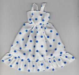 Doll Clothes-White W/Blue Dotted Print Sundress fit Barby Do