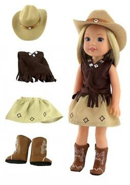 "Complete 5 pc Blue Cowgirl Skirt Set for American Girl 18/"" Doll Clothes LOVVBUGG"