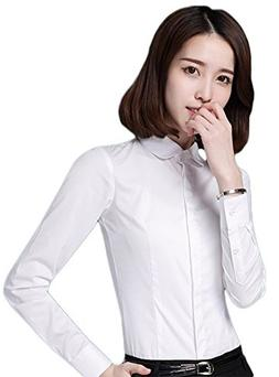 ezShe Womens White Doll Collar Long Sleeve Occupation Dress