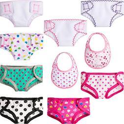 Jovitec 8 Pieces Doll Diapers Reusable Cloth Underwear Set C