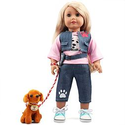 18 Inch Doll Clothes Dog Walker Clothes Set with Cuddly Dog