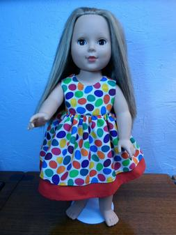 DOLL DRESS 18 inch NEW custom bow red primary color Easter e
