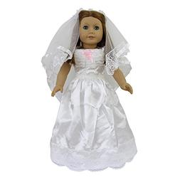ZITA ELEMENT Doll Clothes -Princess Wedding White Dress + Ve