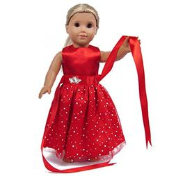 TianBo Doll Clothes - Beautiful Red Dress with Dots Outfit F