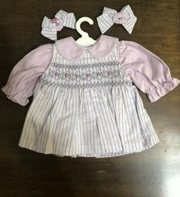 Adora Doll Dress checks Embroidered Outfit  with 2 hair ban