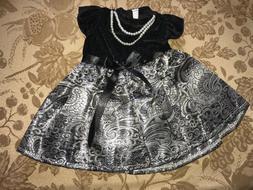 AMERICAN FASHION WORLD DOLL DRESS fancy! black silver bead N