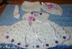doll dress set in white 10 inch